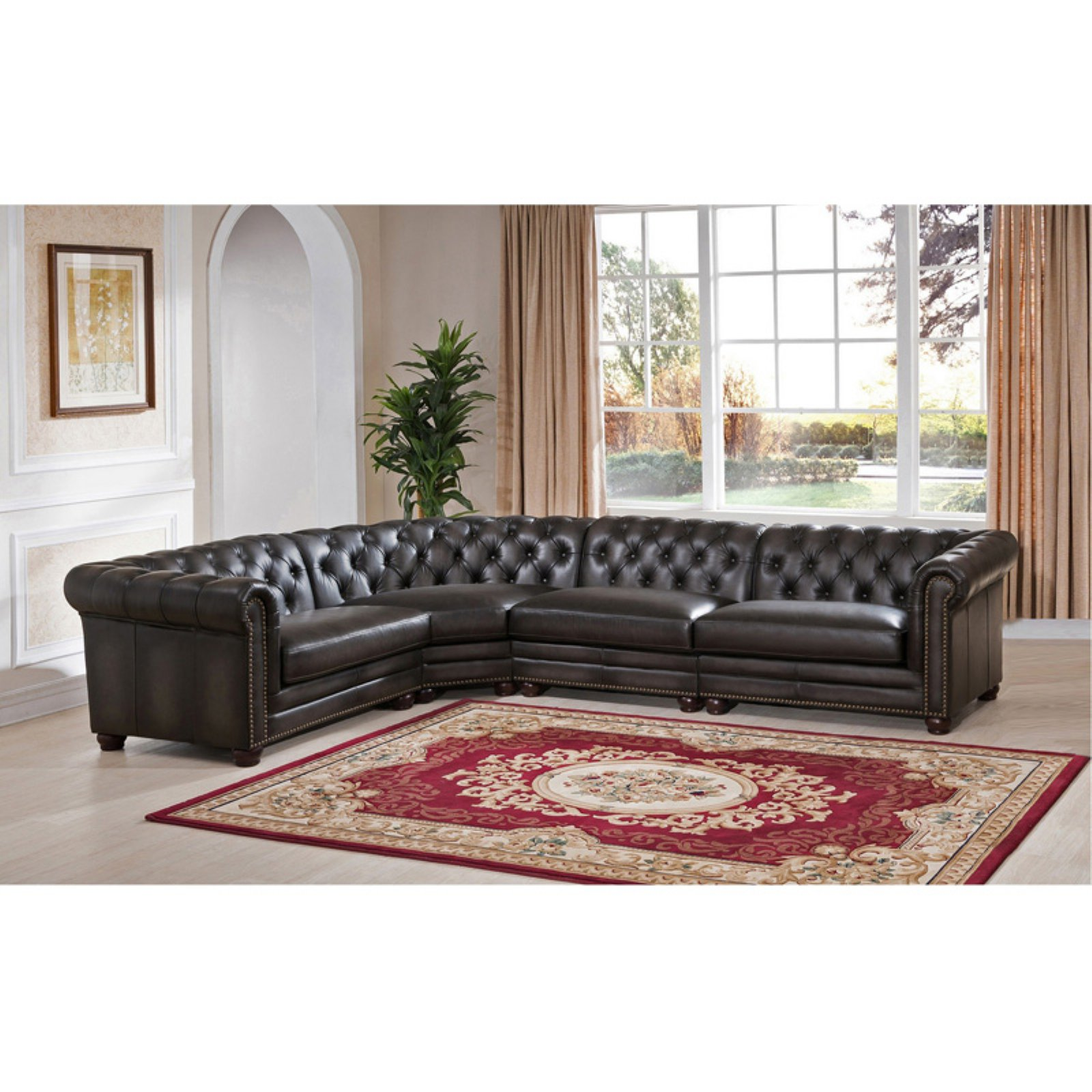 Amax Leather Madison Top Grain Leather 4 Piece Sectional