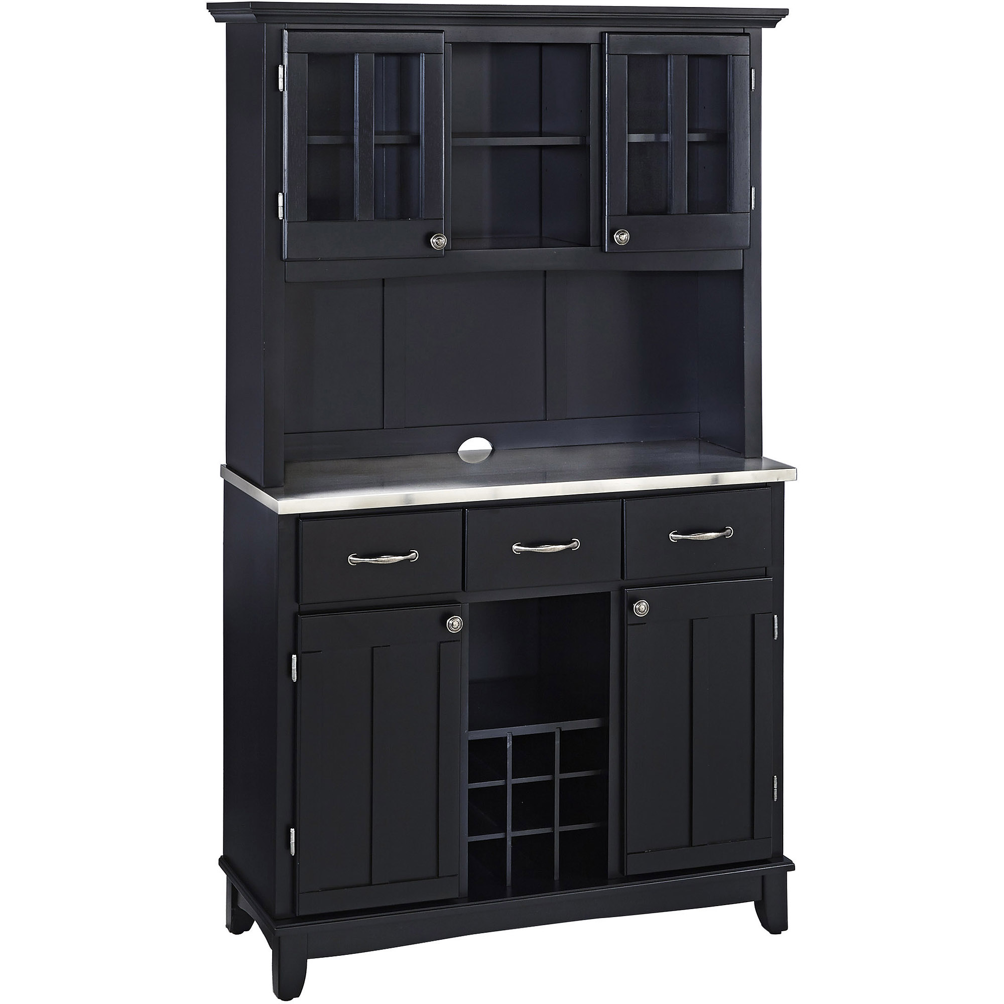 Amazing Home Styles Large Buffet U0026 Two Door Hutch, Black Finish With Stainless Steel