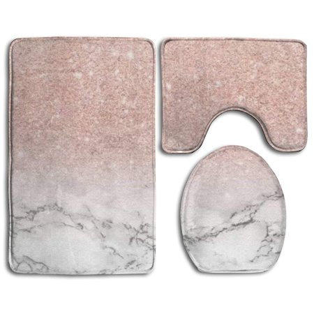 EREHome Pink Marbled 3 Piece Bathroom Rugs Set Bath Rug Contour Mat and Toilet Lid Cover - image 2 de 2