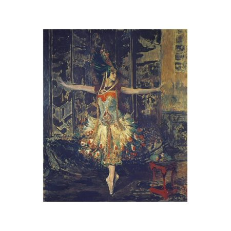 France, Paris, Painting of the Russian Dancer Tamara Karsavina in the Firebird by Igor Stravinsky Print Wall -