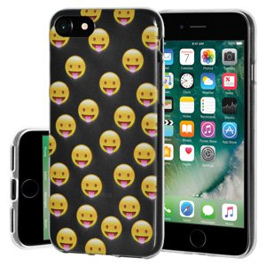 iPhone 7 Case, Soft Gel Clear Emoji TPU Back Case Impact Defender Skin Cover for iPhone 7 - Tongue Out