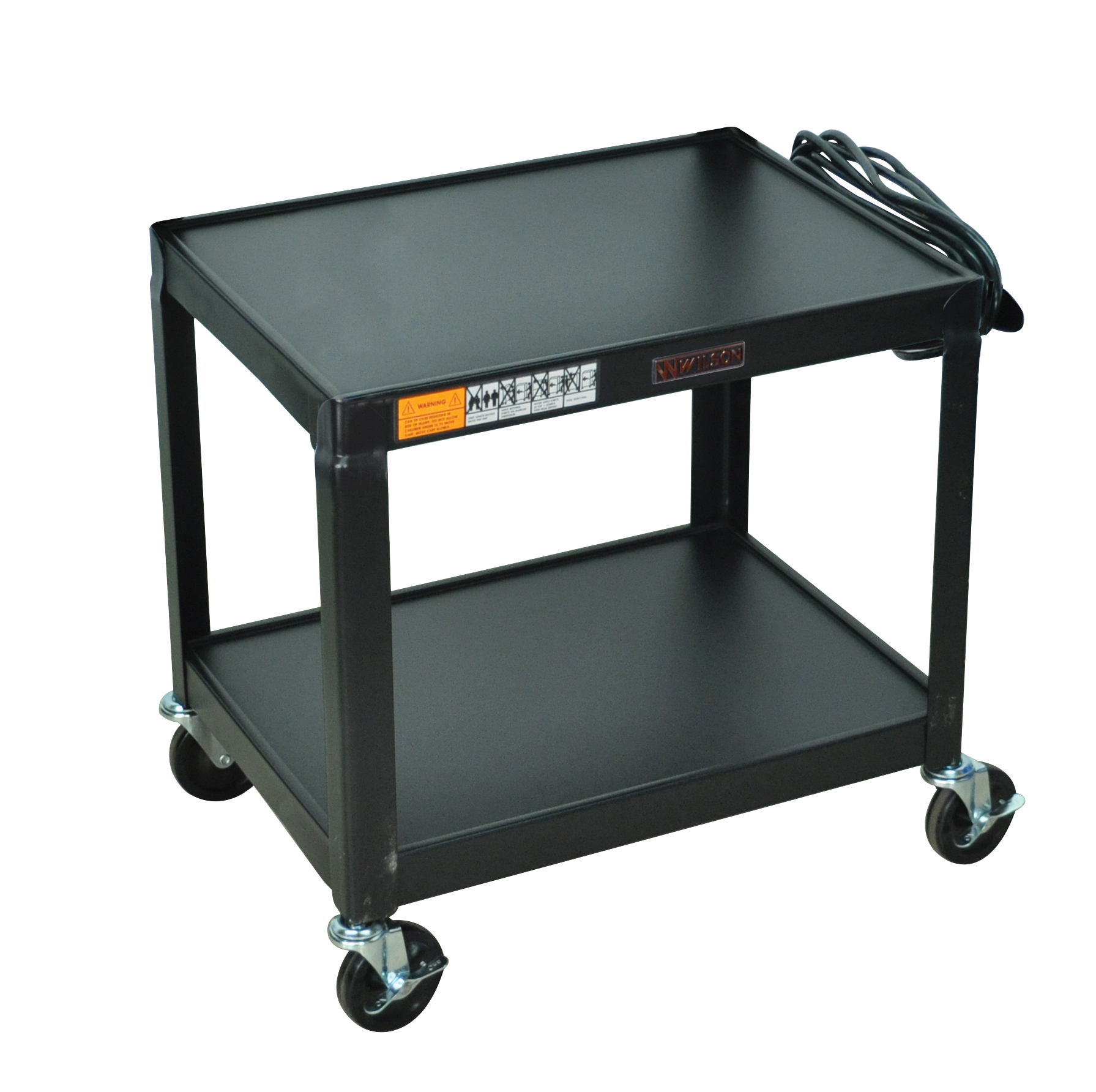 "Luxor Multipurpose W26E 2 Shelves Fixed Height Steel A/V Cart - 26"" H, Black"