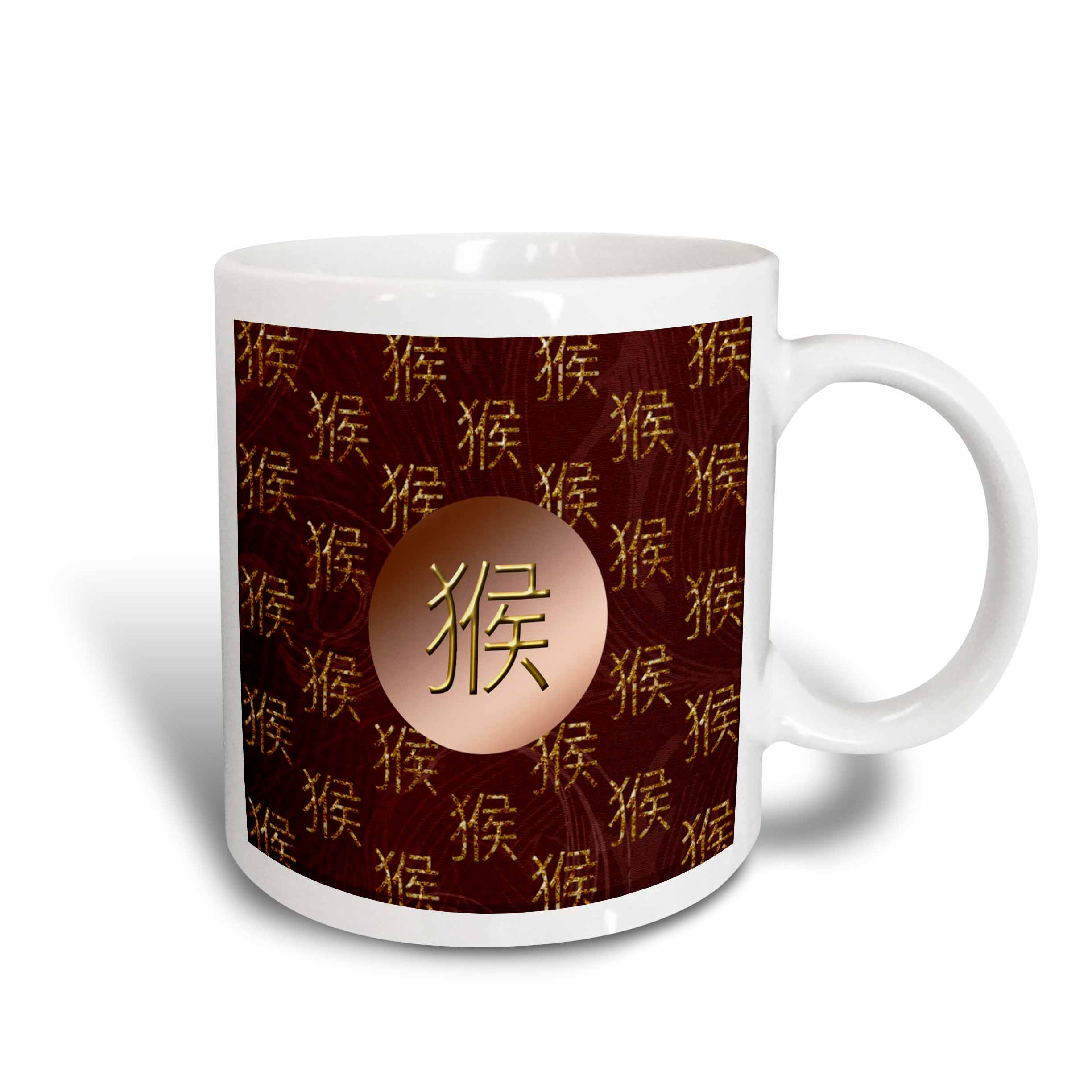3dRose Chinese Sign of the Monkey, Copper and Maroon, Ceramic Mug, 15-ounce