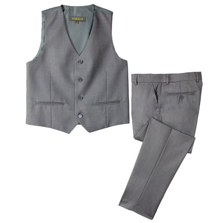 Spring Notion Big Boys' Two Button Suit, Grey - Ring Bearer Suits Grey