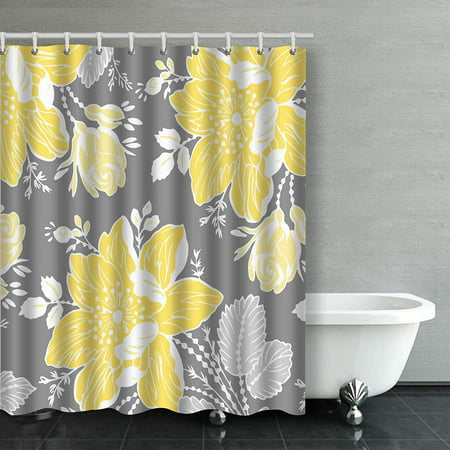 Rylablue Yellow Gray White Fl, Gray White And Yellow Shower Curtains
