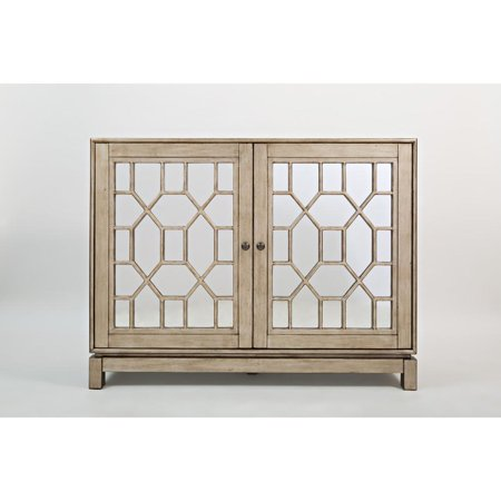 Glass Inlaid Wooden Accent Cabinet With 2 Intricated Doors, Vintage