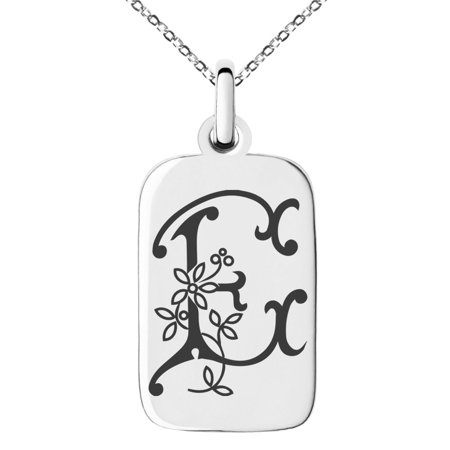 Stainless Steel Letter E Initial Floral Monogram Engraved Small Rectangle Dog Tag Charm Pendant - Engraved Monogram