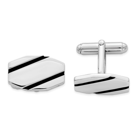 Sterling Silver Rhodium-plated and Black Enamel Cufflinks & Shirt Studs Enamel Rhodium Silver Cufflinks