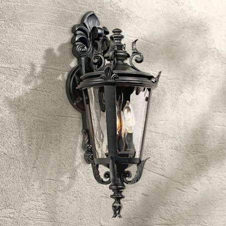 John Timberland Traditional Outdoor Wall Light Fixture Textured Black French 21 3/4