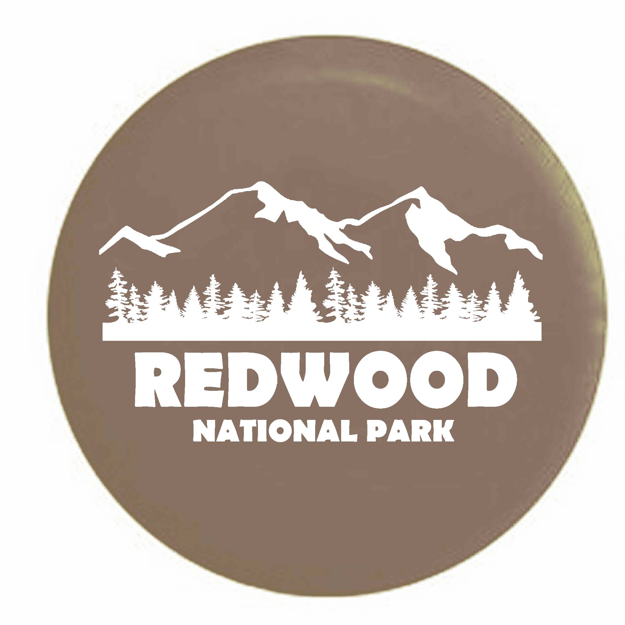 Redwood National Park California Trailer RV Spare Tire Cover Vinyl Tan-WhiteInk 29 in