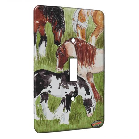 KuzmarK™ Single Gang Toggle Switch Wall Plate - Four Colorful Gypsy Cobs Horse Art by Denise Every ()