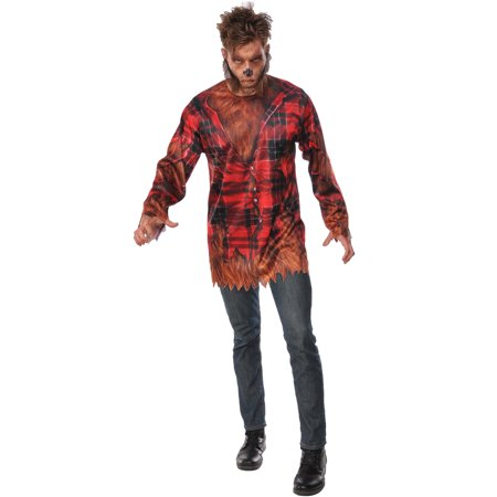 The Wolfman Adult Men Werewolf Halloween Flannel Costume Shirt-Std](Baby Werewolf Costume)