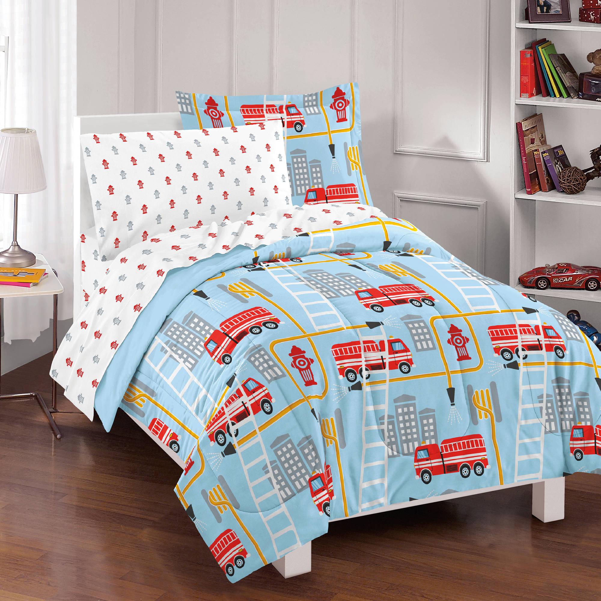 Dream Factory Fire Truck Bed In A Bag Comforter Set,Blue