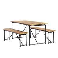 Courtyard Casual Steamfitter Outdoor Picnic Table and Benches