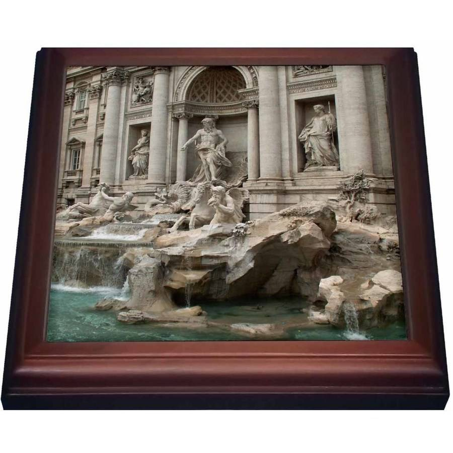 3dRose Trevi Fountain in Rome, Italy- Places to Travel, Trivet with Ceramic Tile, 8 by 8-inch by 3dRose