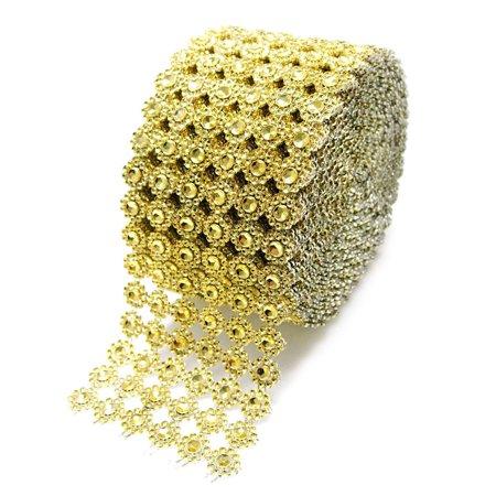 Flower Rhinestone Diamond Mesh Wrap Ribbon, 4-Inch, 10 Yards, Gold