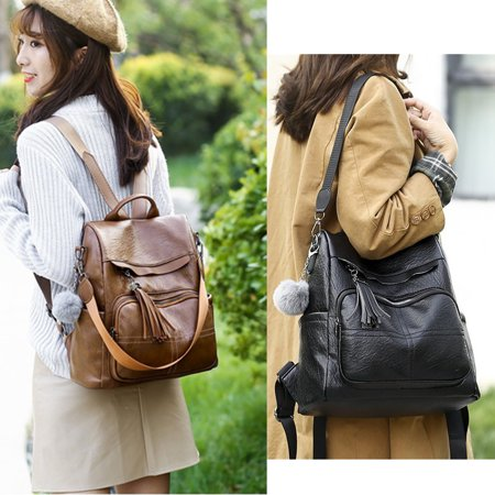 2019 Anti-theft Women Leather Backpack Travel Girl Handbag Shoulder