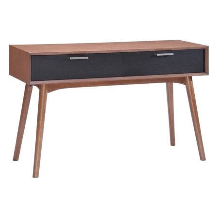 Zuo Liberty City Console Table in Walnut and Black - City Table