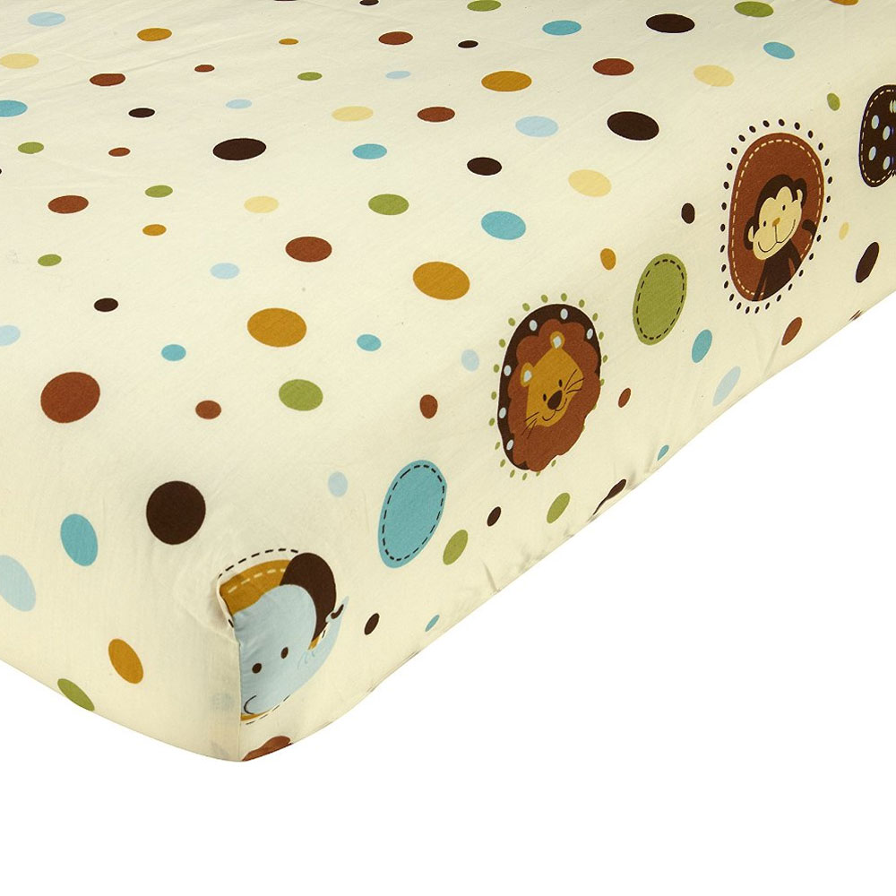 Crown Crafts Infant Products 16992066 Jungle Tales Crib Sheet Polka Dot Toddler Bedding