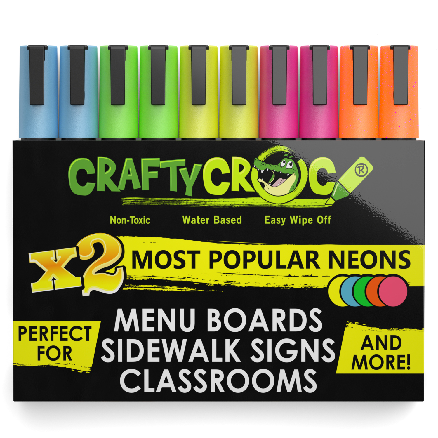 Crafty Croc Liquid Chalk Markers, Multi-Pack of Vibrant Neon Colors, 10-Pack