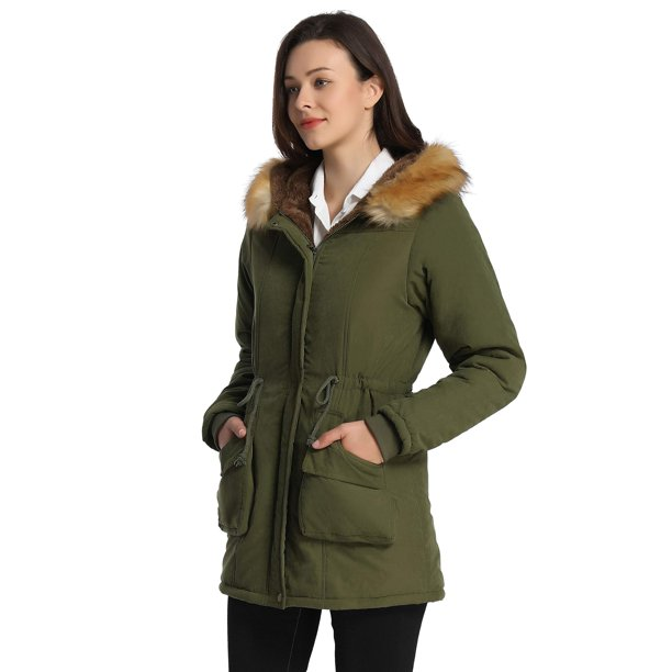 green winter coat : Winter Fur Lined Coats for Women Parka Jacket, Green, Size 6