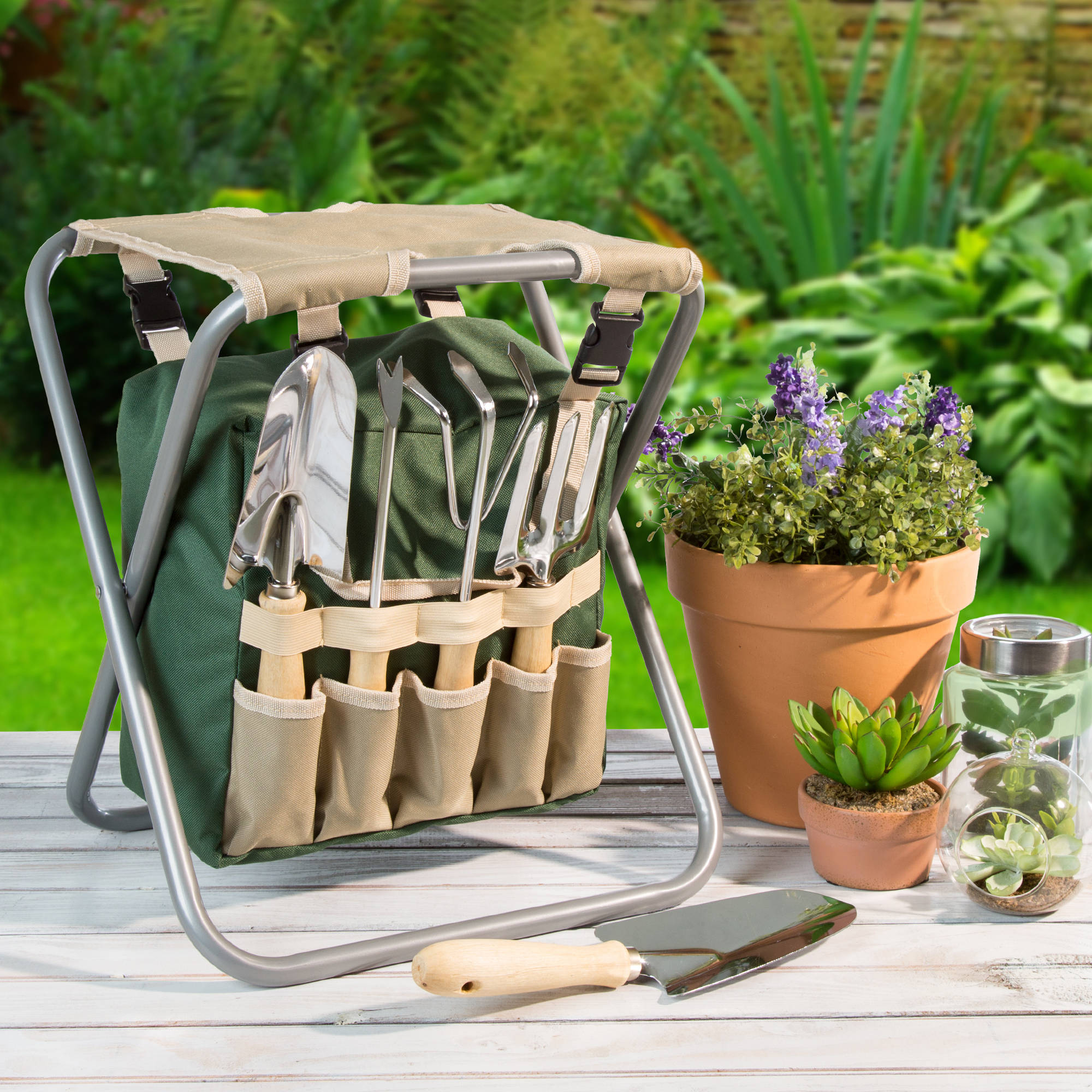 Pure Garden Folding Garden Stool With Tool Bag And 5 Garden Tools