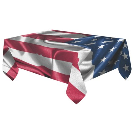 MYPOP Vintage American Flag Cotton Linen Tablecloth 60x104 inches Tablecover Desk Table Cloth For Dining Room, Tea Table, Picnics, Parties - Tea Party Table