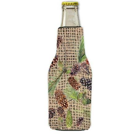 Beer 12 Oz Bottle Label (Pine Cones Longneck Beer bottle sleeve Hugger With Zipper - 12 oz. )