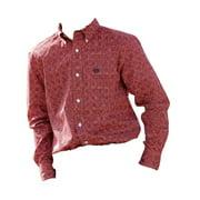 Cinch Western Shirt Boys Kid Long Sleeve Button Logo Orange MTW7060134