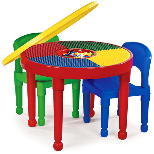 Tot Tutors 2-in-1 Plastic Construction Table & Chair Set