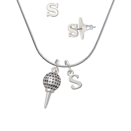 Golf Ball on Tee S Initial Charm Necklace and Stud Earrings Jewelry Set by Delight and Co.