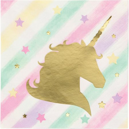 Creative Converting Unicorn Sparkle Beverage Napkin, 3Ply Foil Stamped, 16 ct