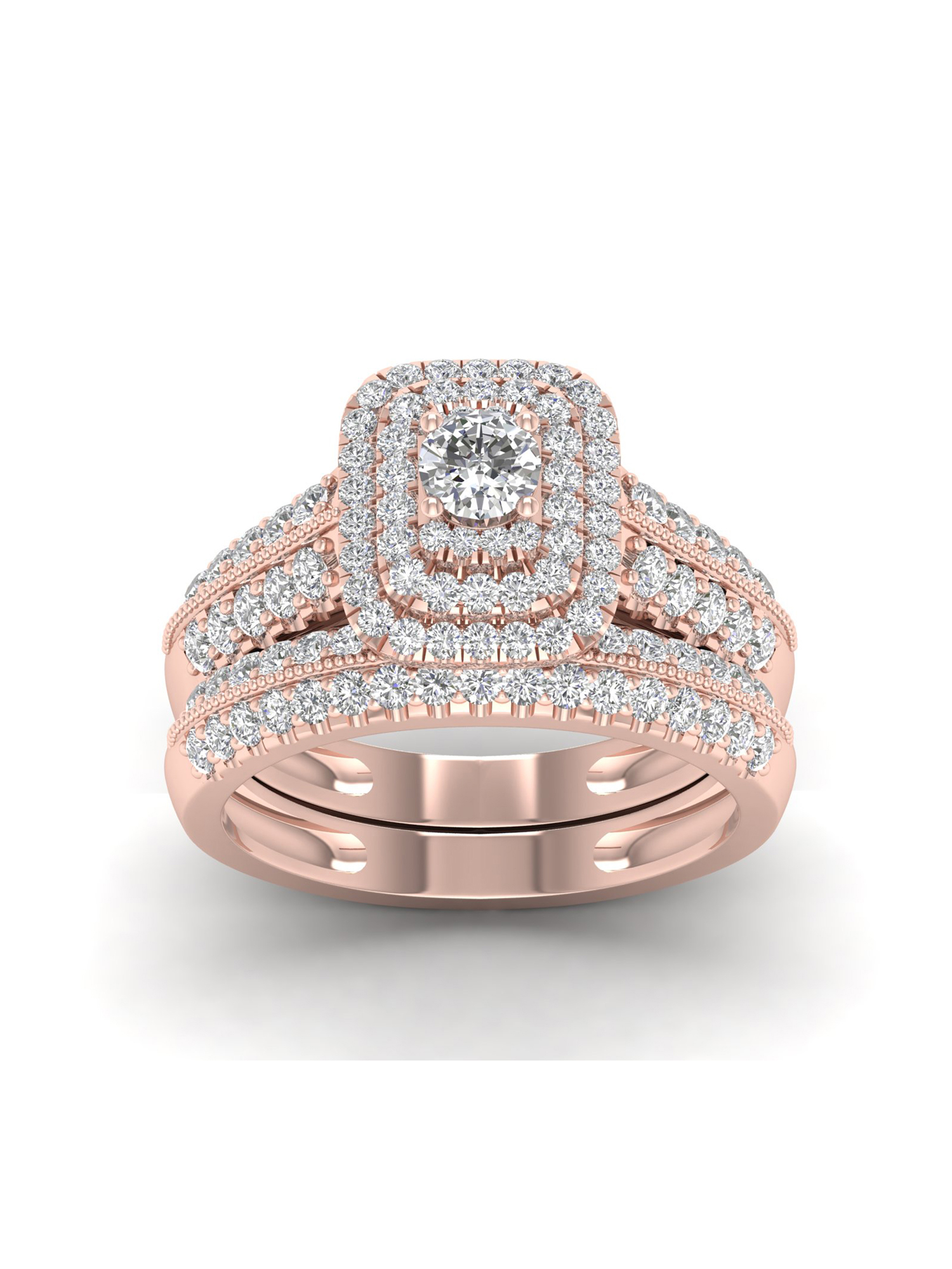 Imperial 1ct TDW Diamond 14K Rose Gold Halo Engagement Ring Set