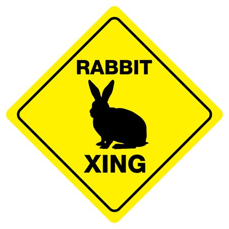 RABBIT CROSSING Funny Novelty Xing Sign