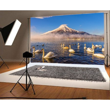 HelloDecor Polyster Mount Fuji Backdrop 7x5ft Photography Background Volcano Swan Lake Blue Sky Travel Landscape Photos Video Studio