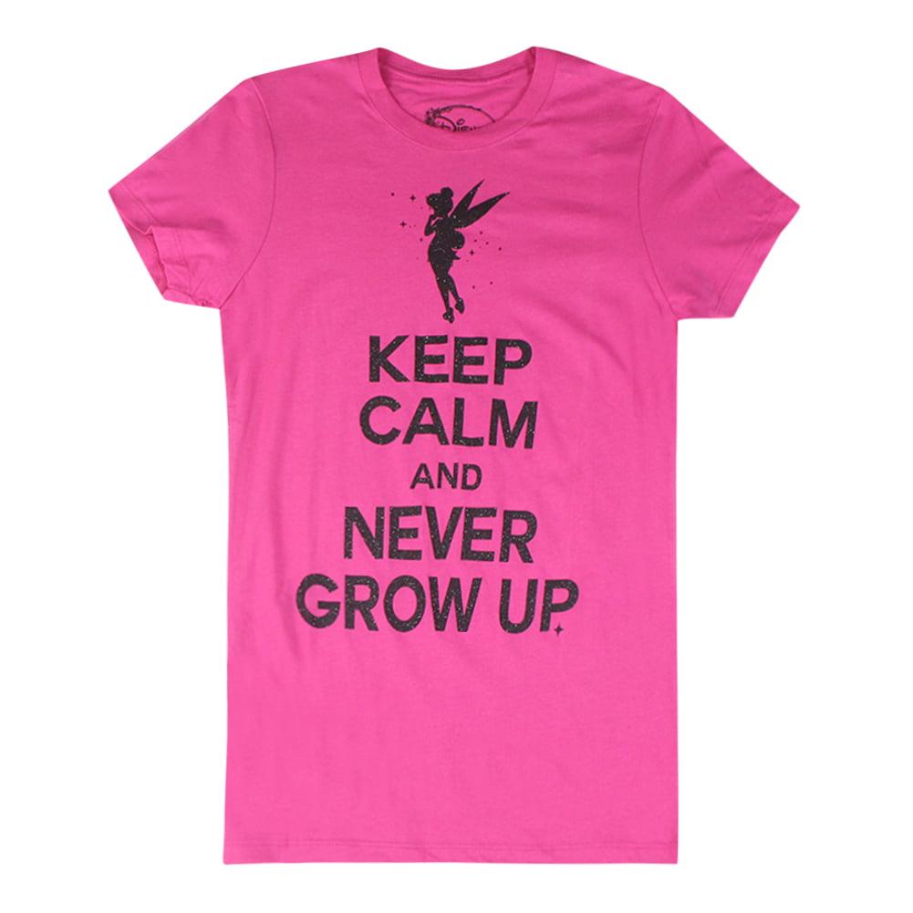 Disney Peter Pan Tinkerbell Keep Calm And Never Grow Up Women\'s Pink ...