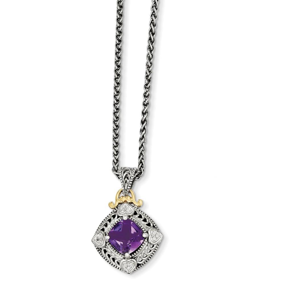 14K Yellow Gold Amethyst and Diamond Cushion Cut Necklace by gemaffair
