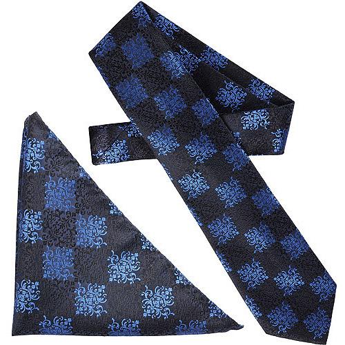Daxx Men's Scroll Pattern Microfiber Tie and Hanky Set