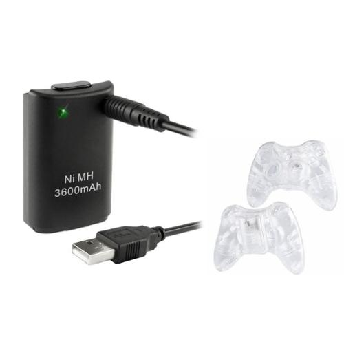 Insten Crystal Shell Case + Battery For Xbox 360 Wireless Controller