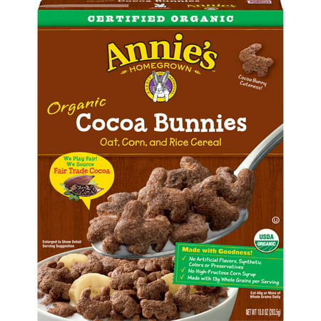 (2 Pack) Annie's Organic Cereal, Cocoa Bunnies, Oat, Corn, Rice Cereal, 10oz (General Mills Cocoa)