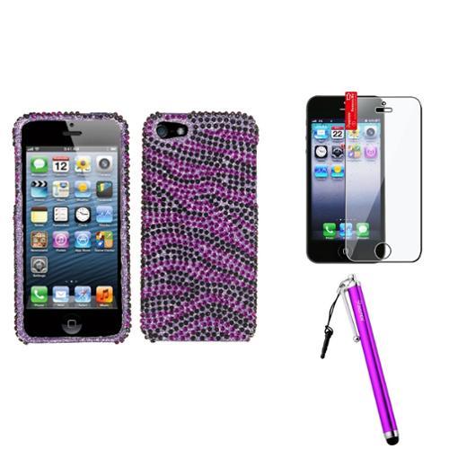 Insten Zebra Skin (Purple/Black) Diamante Case For iPhone 5 / 5s + Film + Stylus Pen