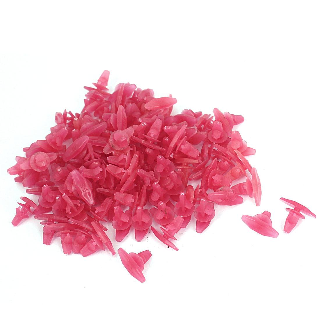 Unique Bargains 100 Pcs Red Plastic Rivet Trim Fastener Moulding Clips 6mm x 8mm x 8mm