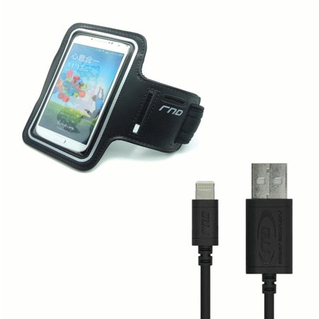 RND Apple Certified Lightning to Reversible USB 6ft Cable and Slim-Fit Active Sports Armband Case for iPhone (7, 6S, 6, 5S, 5, 5C, SE) and iPod Touch (Black) ()