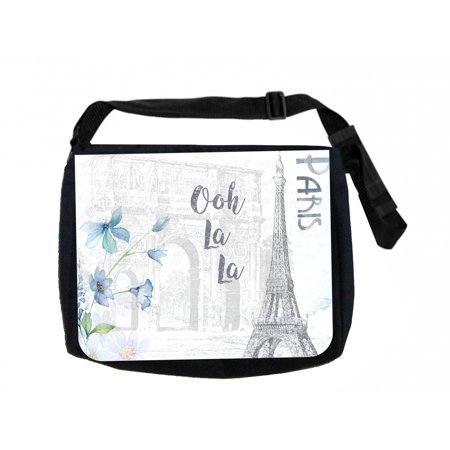 Ooh La La Paris Black Laptop Shoulder Messenger Bag