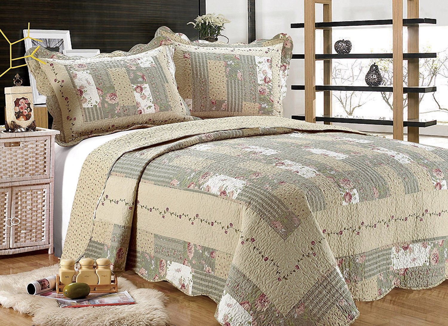 All for You 3pc Reversible Quilt Set, Bedspread, and Coverlet with Patchwork Prints-5... by All For You Home