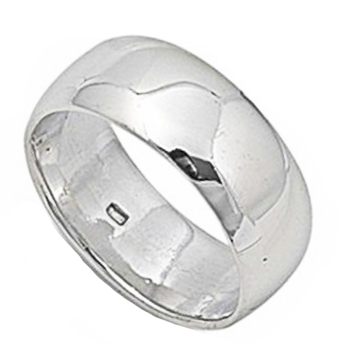 Round Plain Solid Wedding Band 8 MM .925 Sterling Silver Ring Sizes 5-14