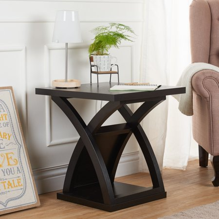 Furniture of America  Hali Modern Espresso Solid Wood X-base End Table