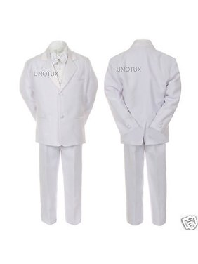 f753febdce25 Product Image Baby Boy Kid Wedding Party Baptism Communion Formal Tuxedo  5pc White Suit S-20