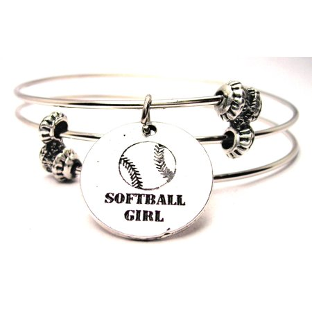 Chubby Chico Charms Softball Girl Expandable Wire Triple Style Bangle Bracelet, 2.5