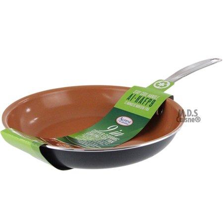 "Fry Pan 9"" Copper Ceramic Coating Skillet Non Stick Eco Friendly Griddle Kitchen"